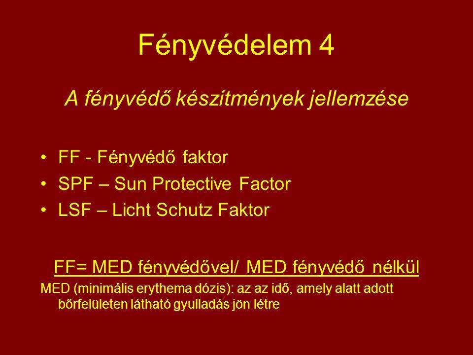 Fényvédelem 4 A fényvédő készítmények jellemzése FF - Fényvédő faktor