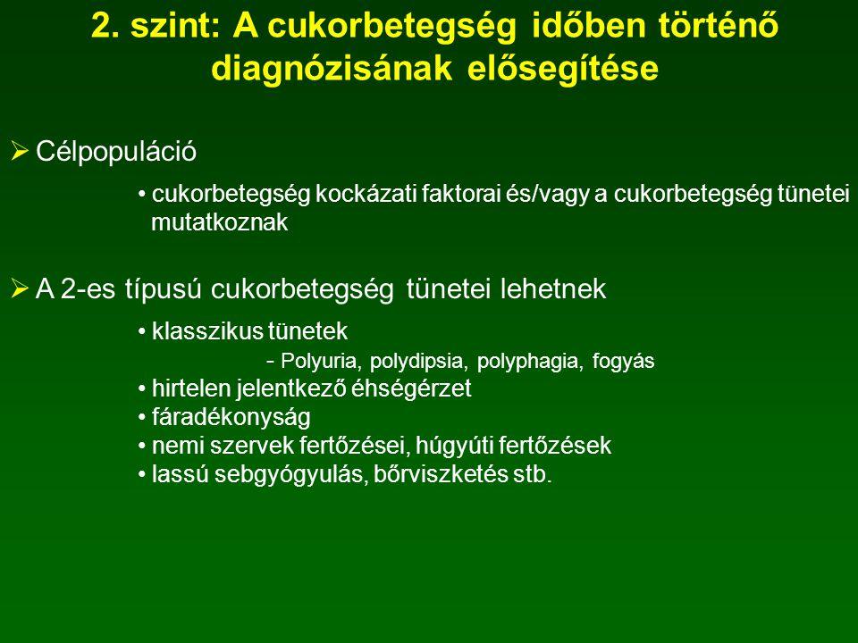 2. szint: A cukorbetegség időben történő diagnózisának elősegítése