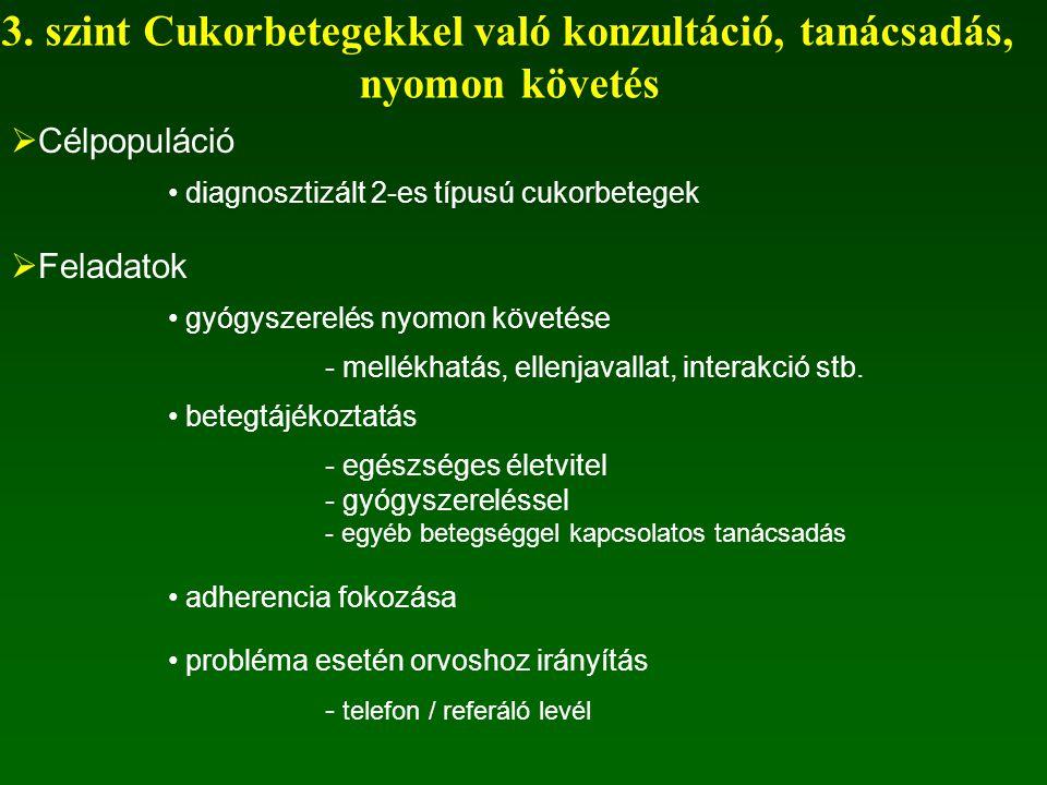 3. szint Cukorbetegekkel való konzultáció, tanácsadás,