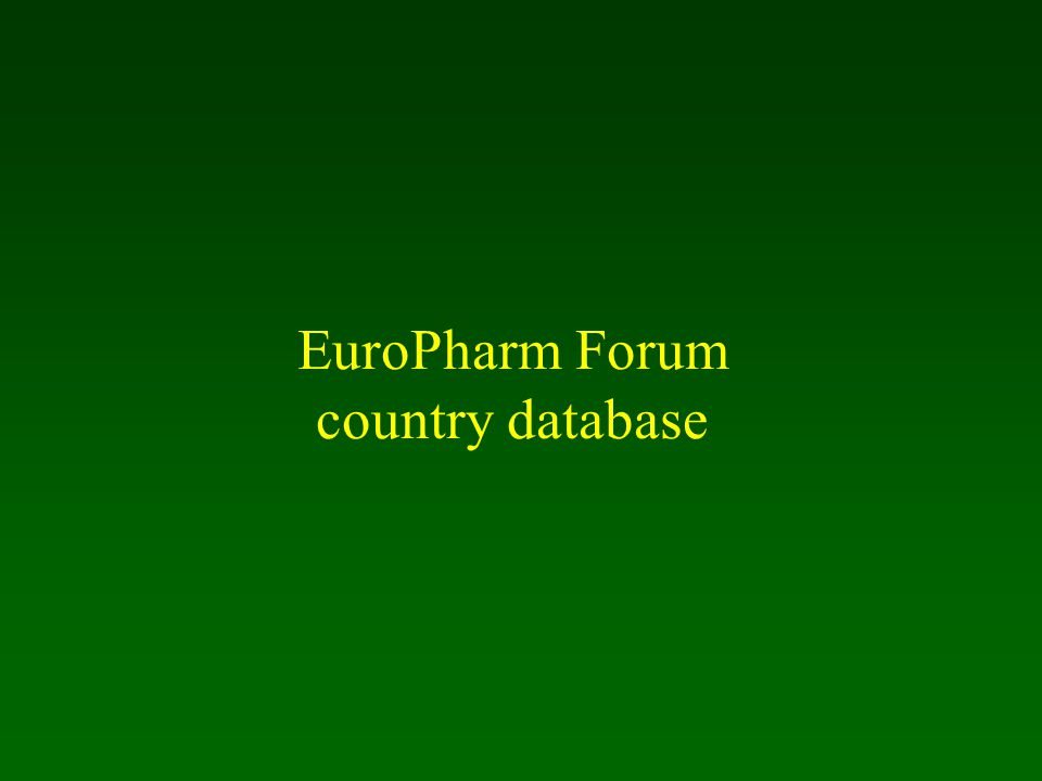 EuroPharm Forum country database