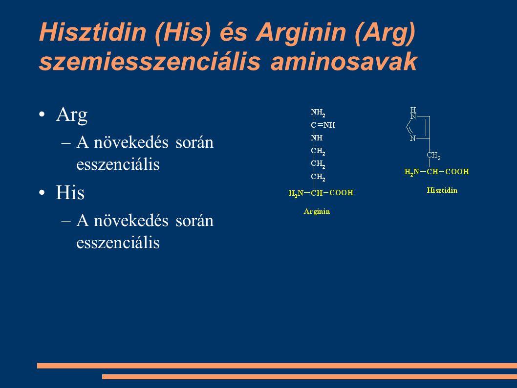 Hisztidin (His) és Arginin (Arg) szemiesszenciális aminosavak