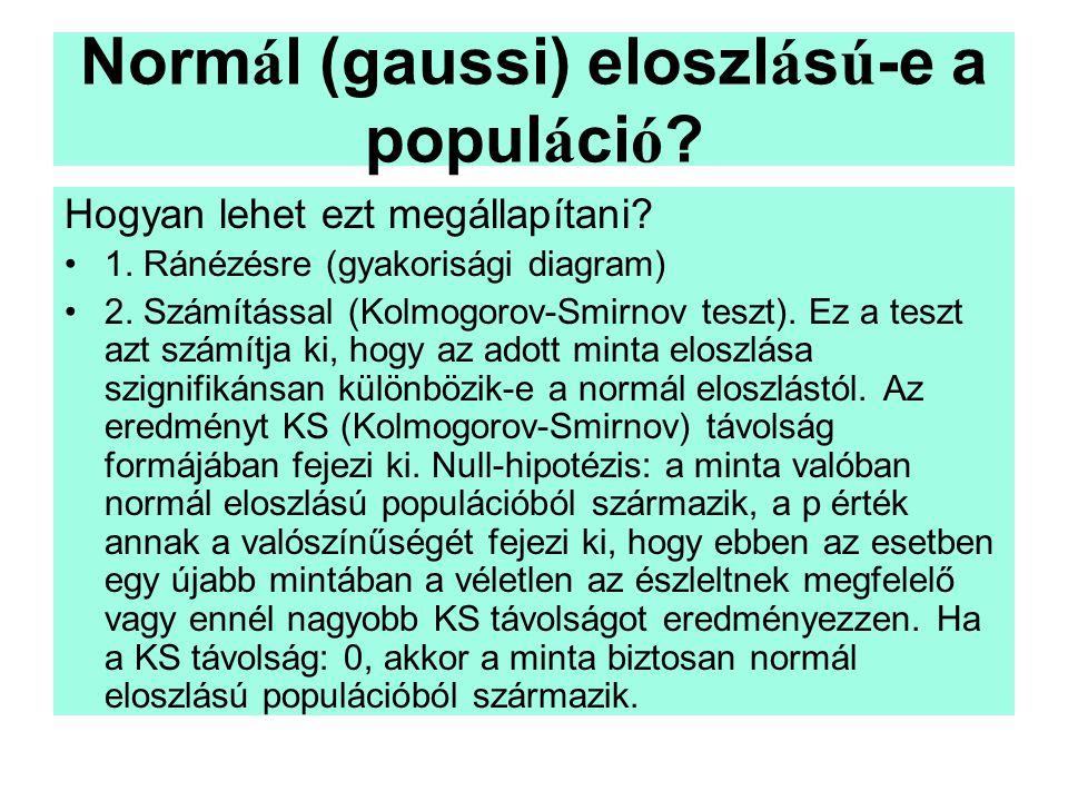 Normál (gaussi) eloszlású-e a populáció