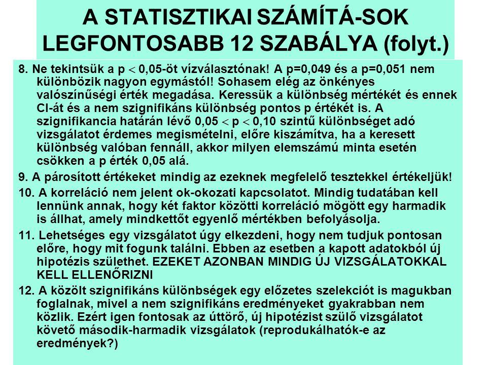 A STATISZTIKAI SZÁMÍTÁ-SOK LEGFONTOSABB 12 SZABÁLYA (folyt.)