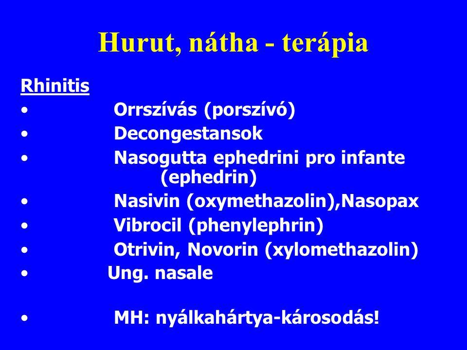 Hurut, nátha - terápia Rhinitis Orrszívás (porszívó) Decongestansok
