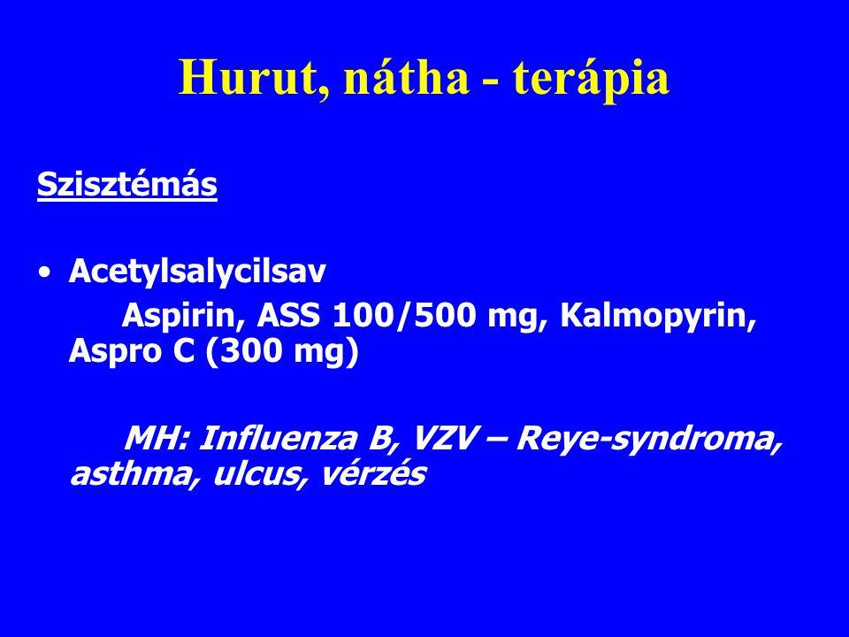 Hurut, nátha - terápia Szisztémás Acetylsalycilsav