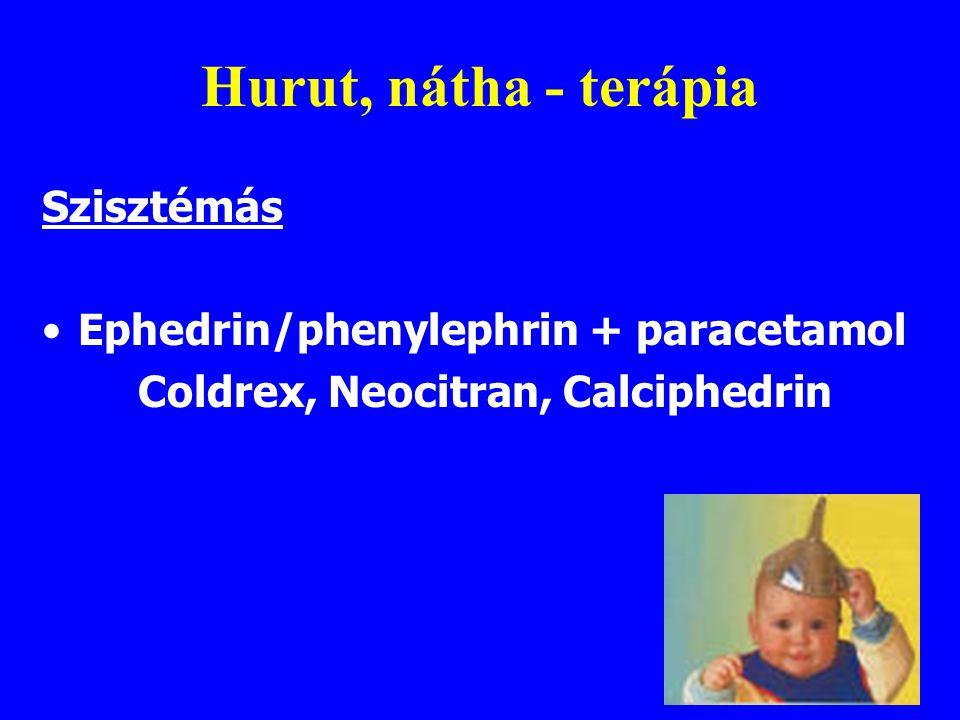 Hurut, nátha - terápia Szisztémás Ephedrin/phenylephrin + paracetamol