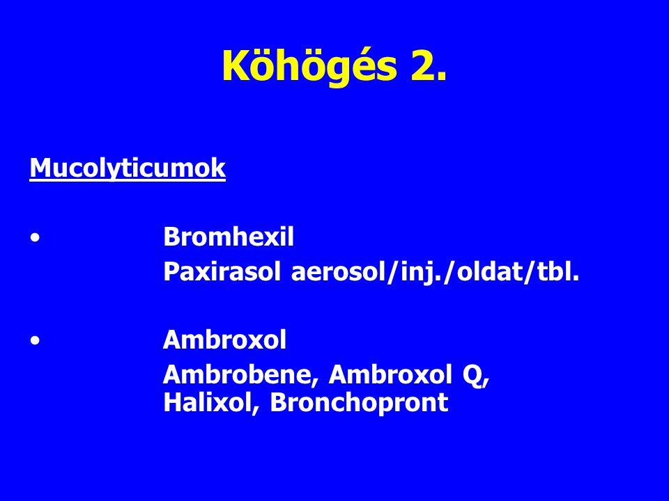 Köhögés 2. Mucolyticumok Bromhexil Paxirasol aerosol/inj./oldat/tbl.
