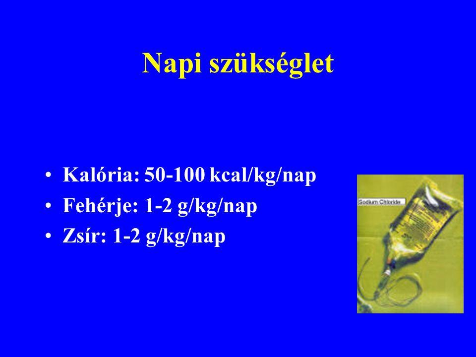 Napi szükséglet Kalória: 50-100 kcal/kg/nap Fehérje: 1-2 g/kg/nap