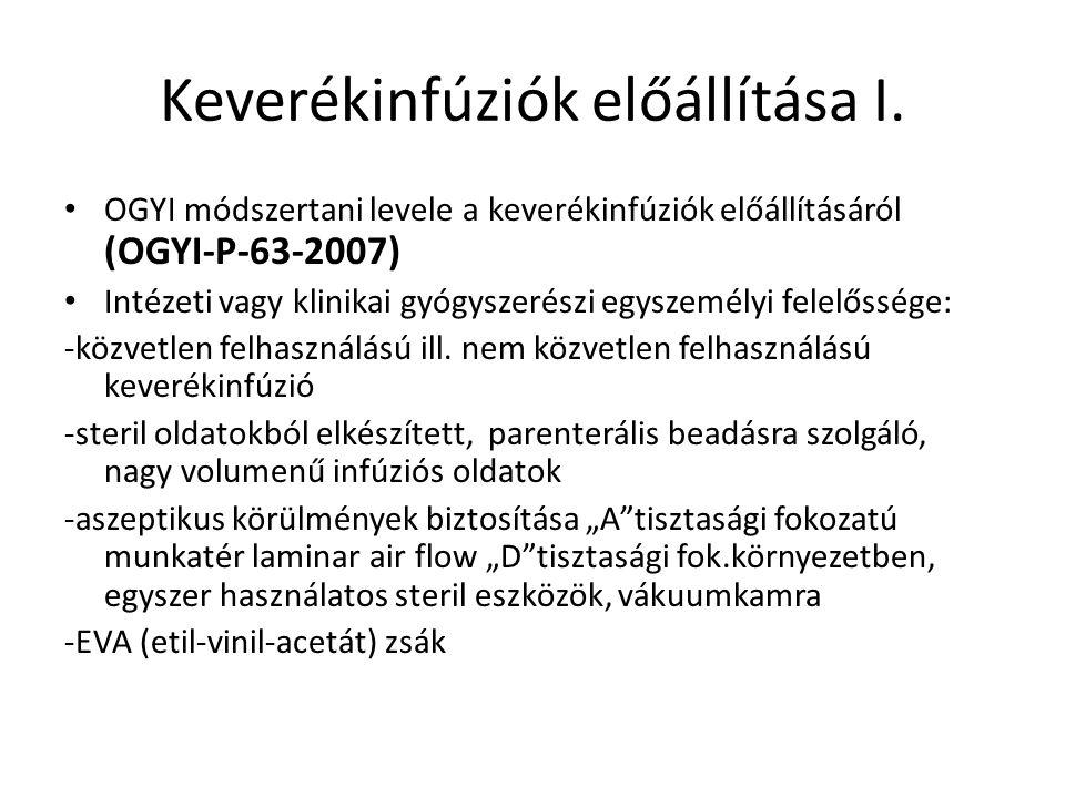 Keverékinfúziók előállítása I.