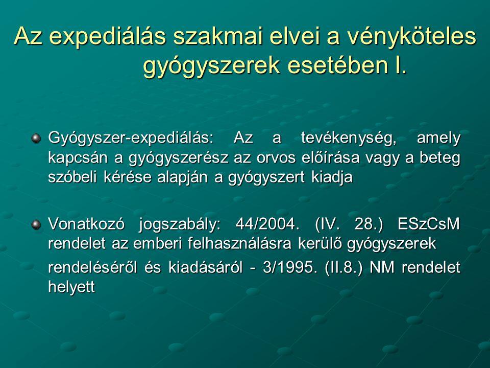 Az expediálás szakmai elvei a vényköteles gyógyszerek esetében I.