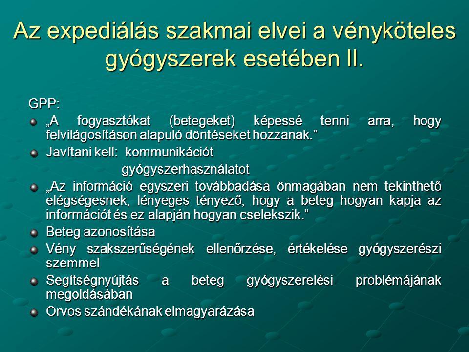 Az expediálás szakmai elvei a vényköteles gyógyszerek esetében II.