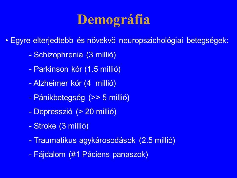Demográfia • Egyre elterjedtebb és növekvö neuropszichológiai betegségek: - Schizophrenia (3 millió)