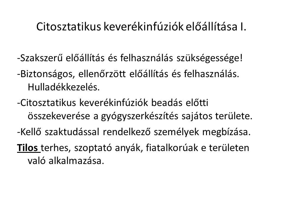 Citosztatikus keverékinfúziók előállítása I.