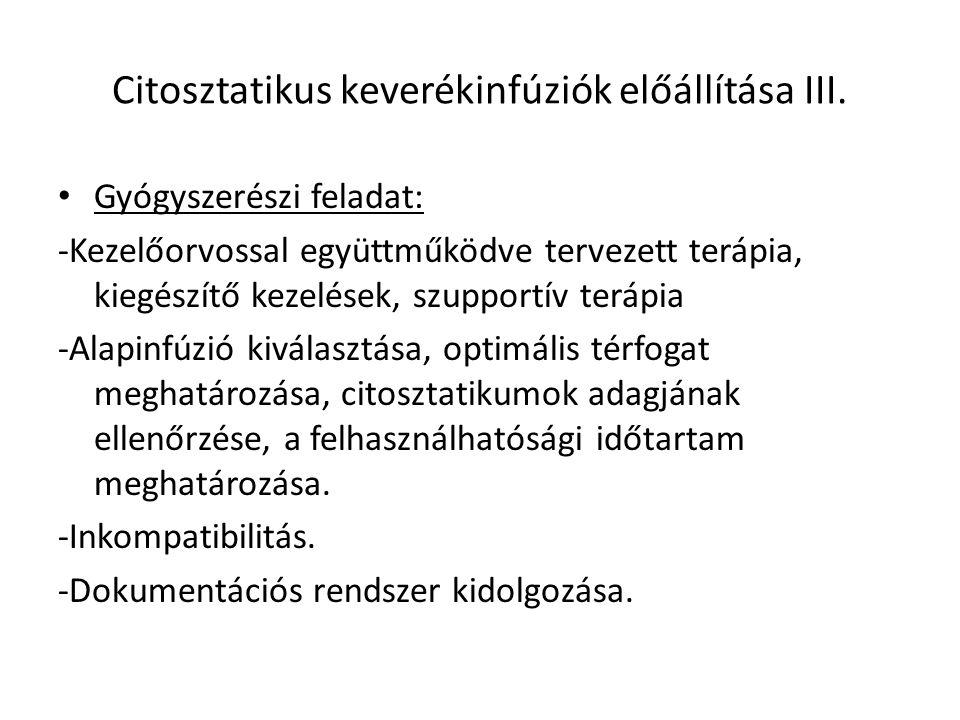 Citosztatikus keverékinfúziók előállítása III.