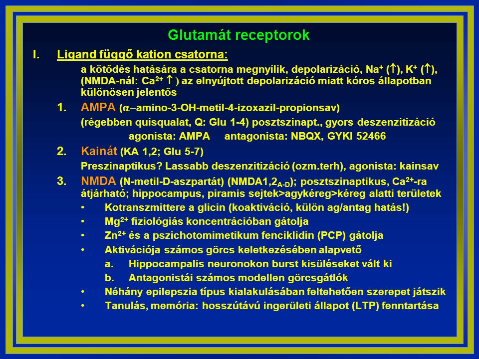 Glutamát receptorok Ligand függő kation csatorna: