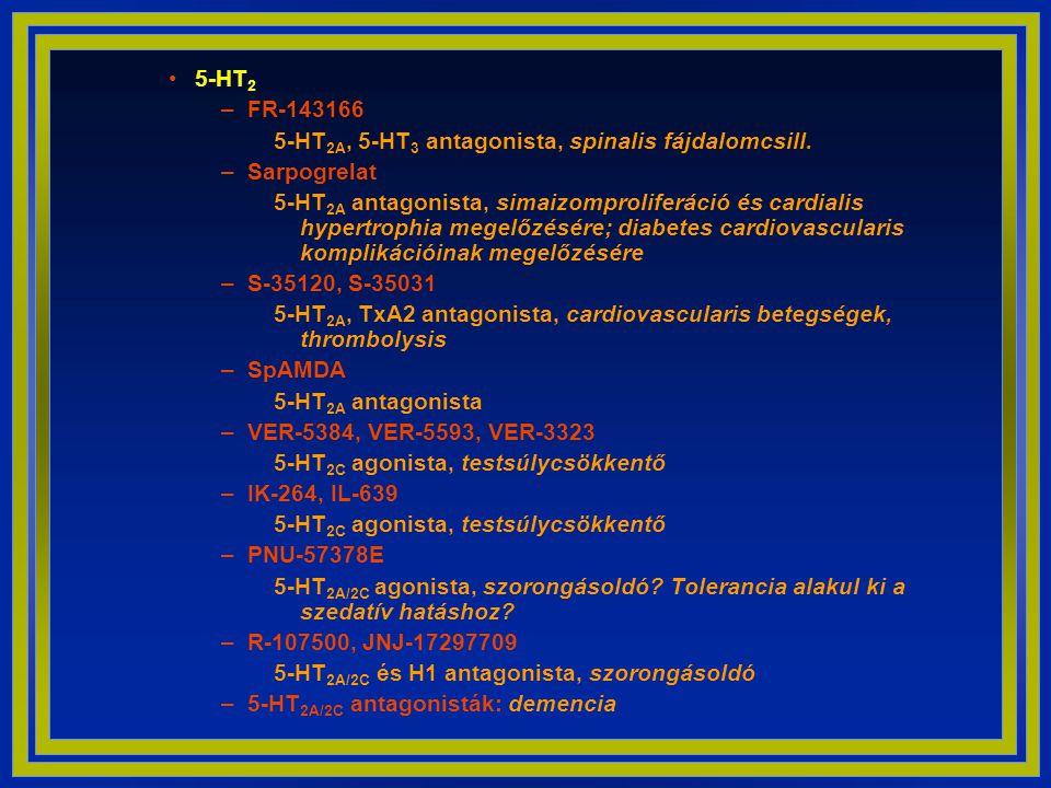 5-HT2 FR-143166. 5-HT2A, 5-HT3 antagonista, spinalis fájdalomcsill. Sarpogrelat.