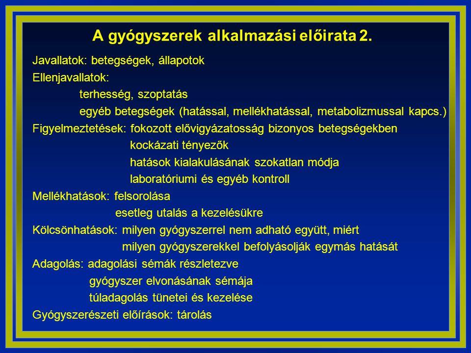 A gyógyszerek alkalmazási előirata 2.