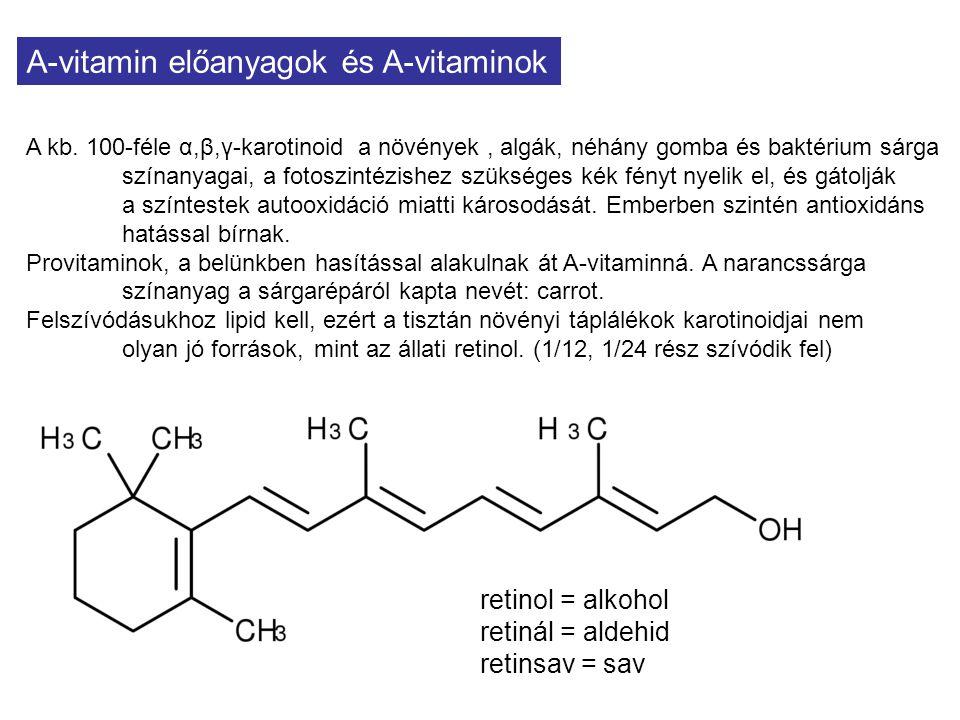 A-vitamin előanyagok és A-vitaminok