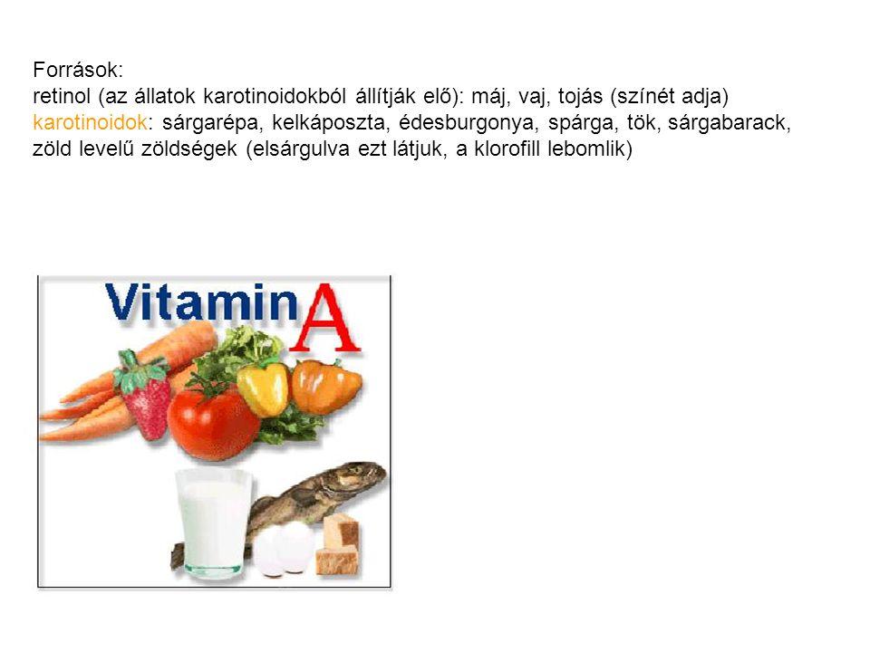 Források: retinol (az állatok karotinoidokból állítják elő): máj, vaj, tojás (színét adja)