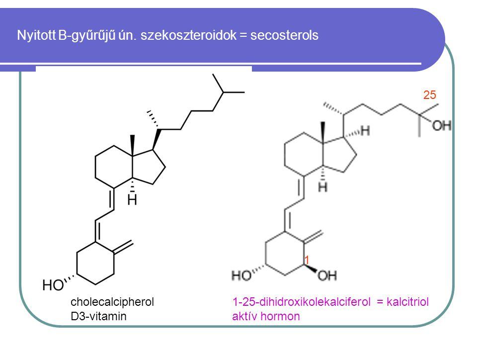 Nyitott B-gyűrűjű ún. szekoszteroidok = secosterols