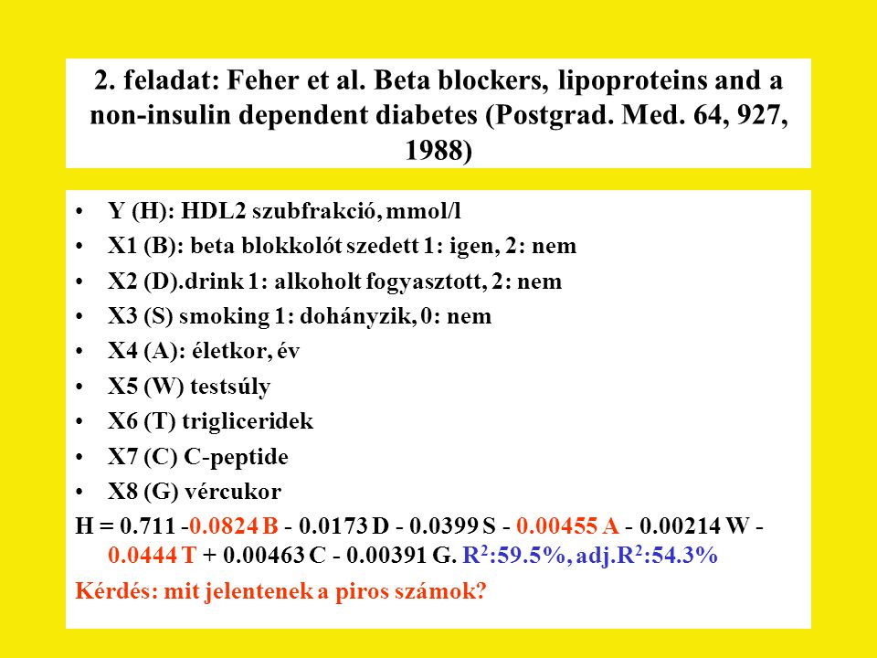 2. feladat: Feher et al. Beta blockers, lipoproteins and a non-insulin dependent diabetes (Postgrad. Med. 64, 927, 1988)