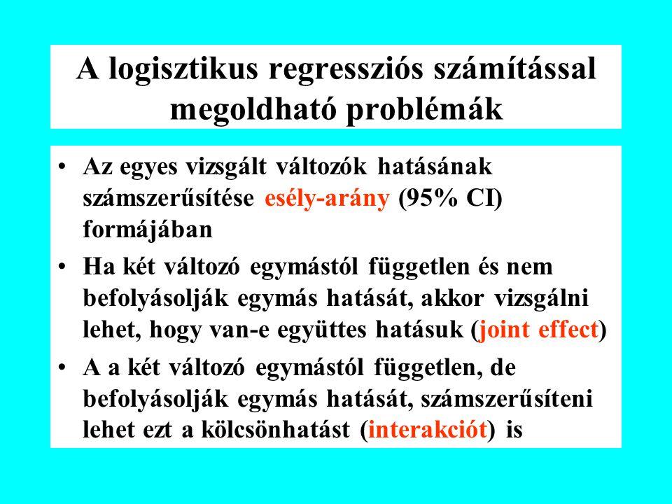 A logisztikus regressziós számítással megoldható problémák