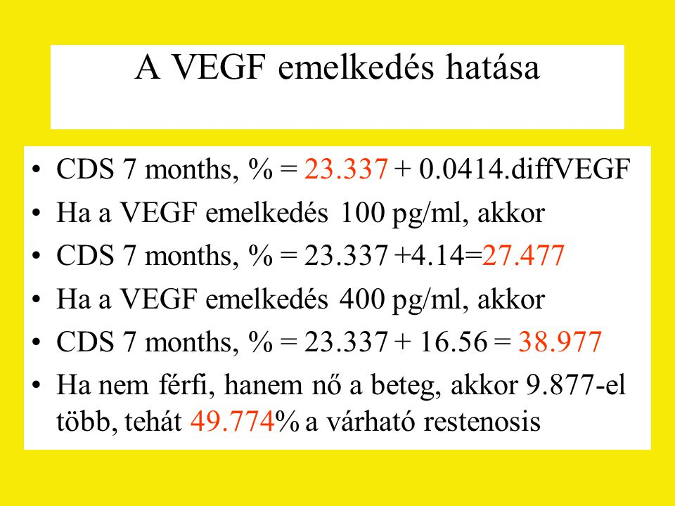 A VEGF emelkedés hatása