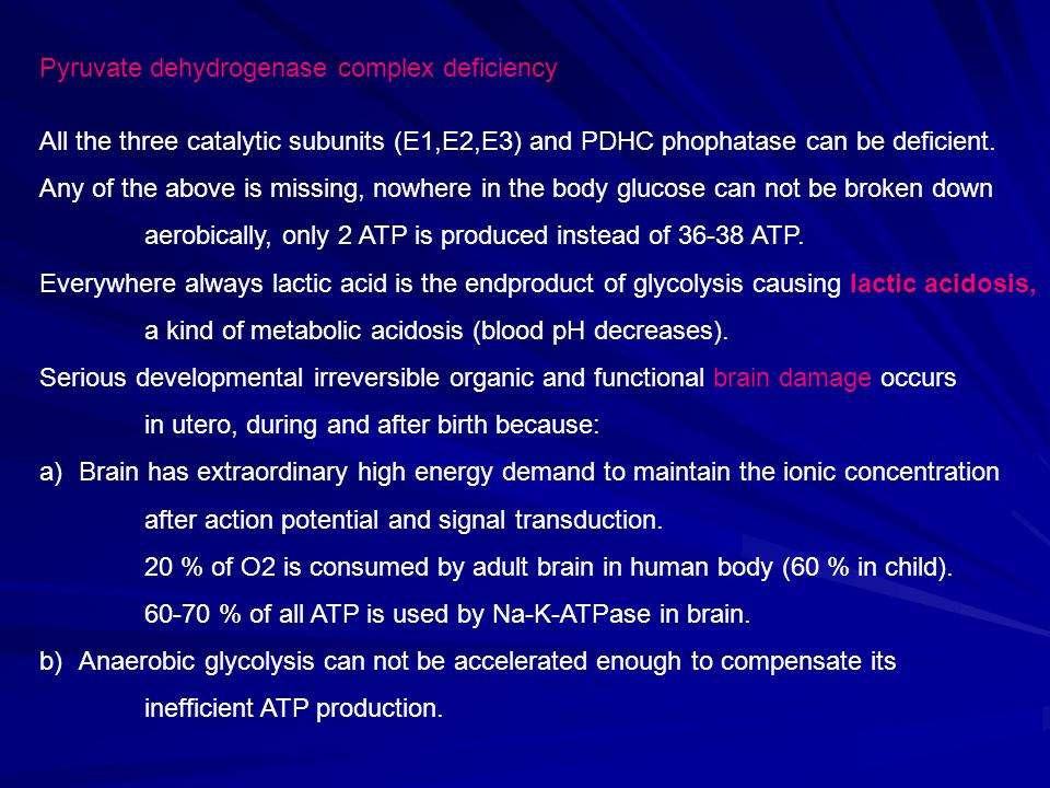 Pyruvate dehydrogenase complex deficiency