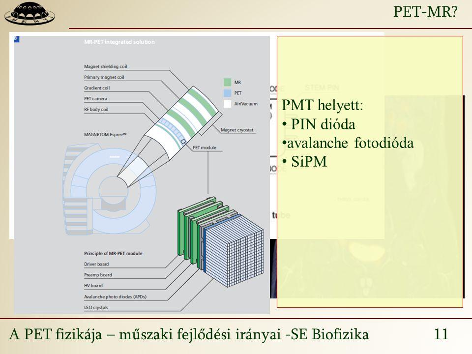 PET-MR PMT helyett: PIN dióda avalanche fotodióda SiPM