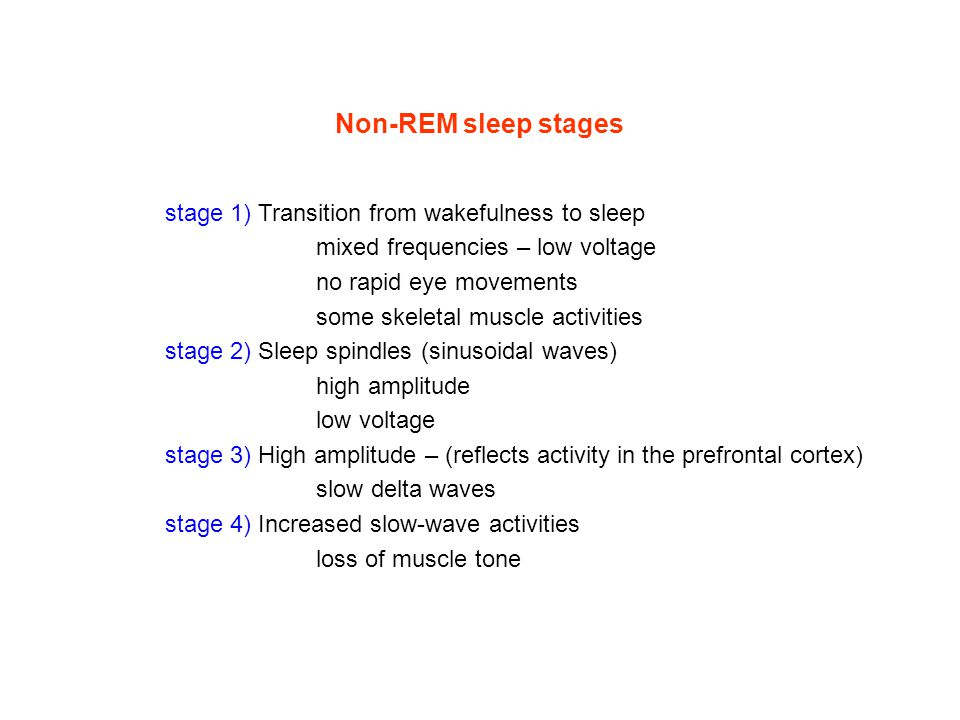 Non-REM sleep stages stage 1) Transition from wakefulness to sleep