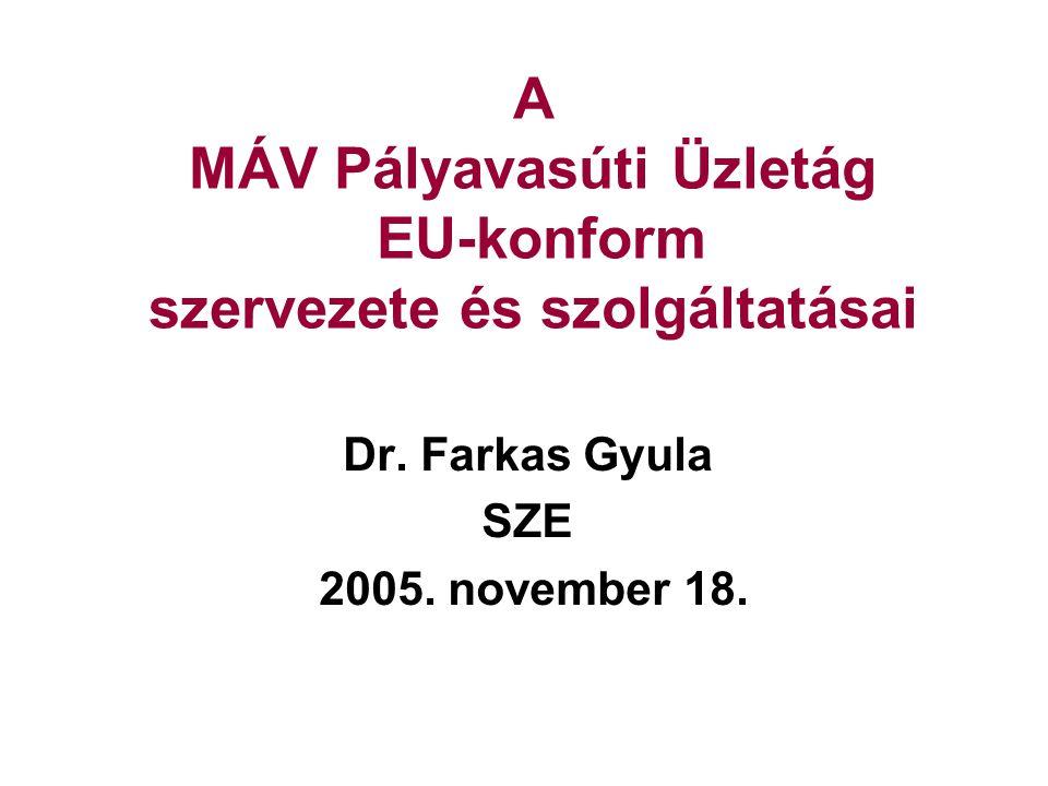 A MÁV Pályavasúti Üzletág EU-konform szervezete és szolgáltatásai