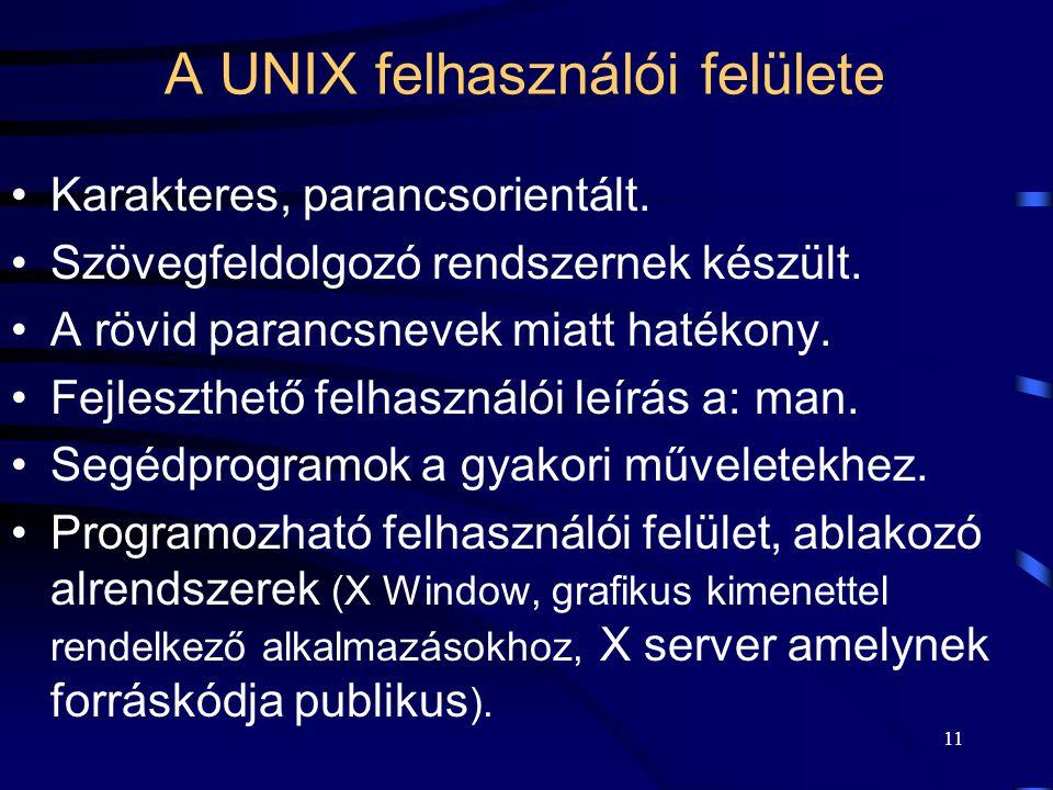 A UNIX felhasználói felülete