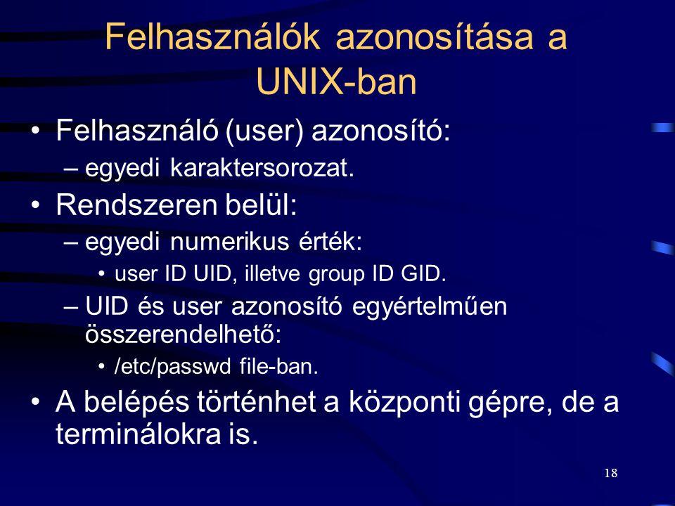 Felhasználók azonosítása a UNIX-ban