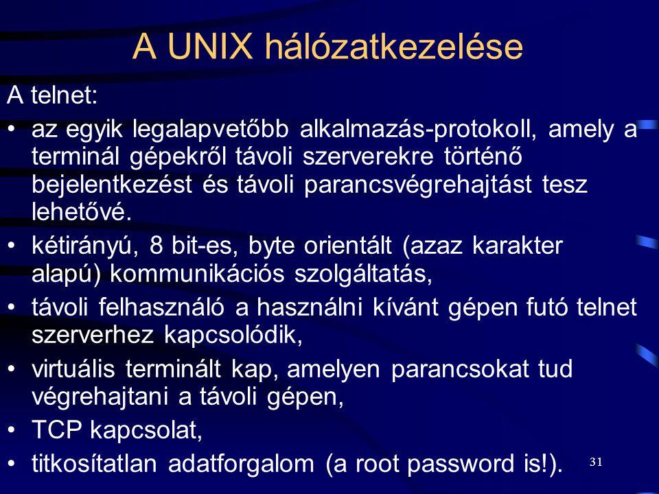 A UNIX hálózatkezelése