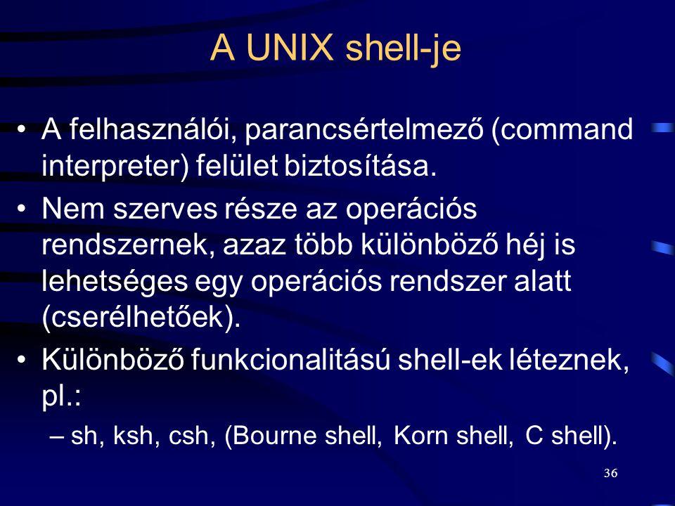 A UNIX shell-je A felhasználói, parancsértelmező (command interpreter) felület biztosítása.
