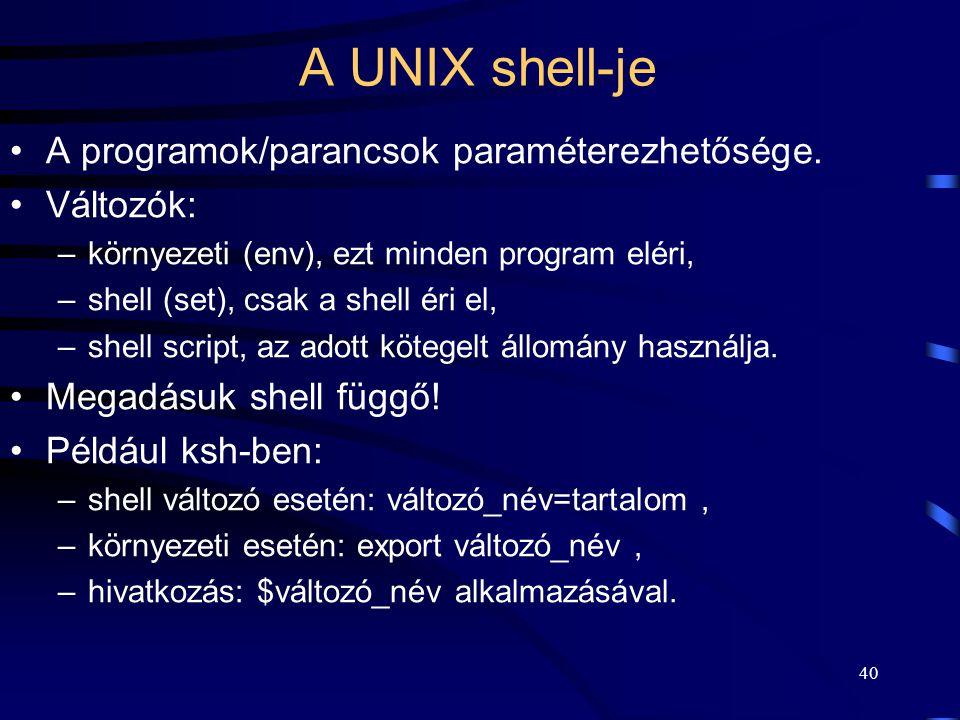 A UNIX shell-je A programok/parancsok paraméterezhetősége. Változók: