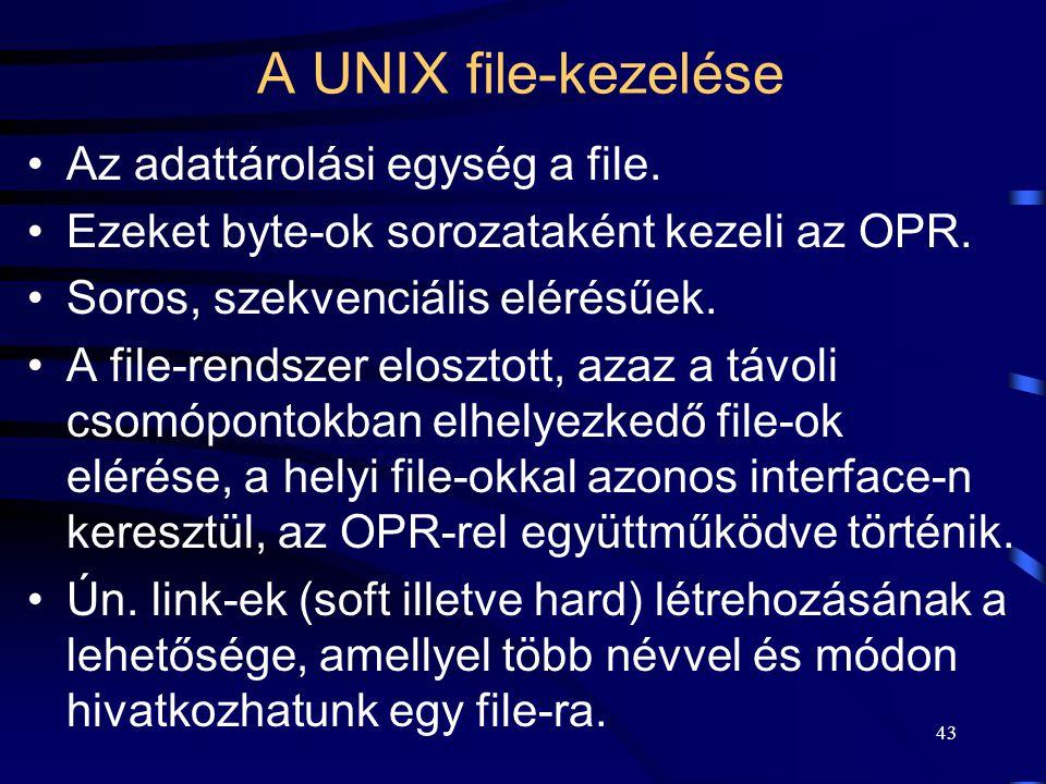 A UNIX file-kezelése Az adattárolási egység a file.