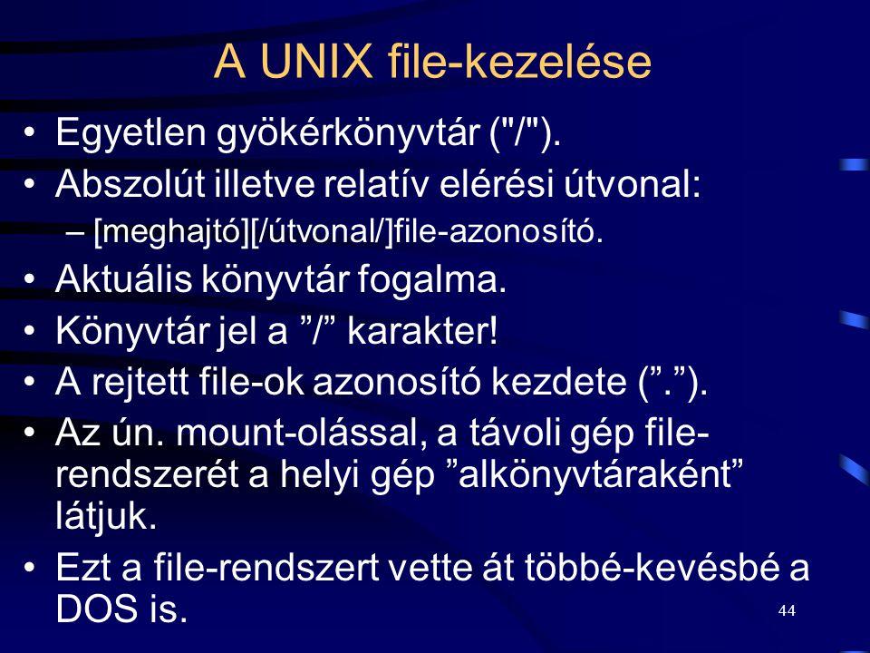 A UNIX file-kezelése Egyetlen gyökérkönyvtár ( / ).