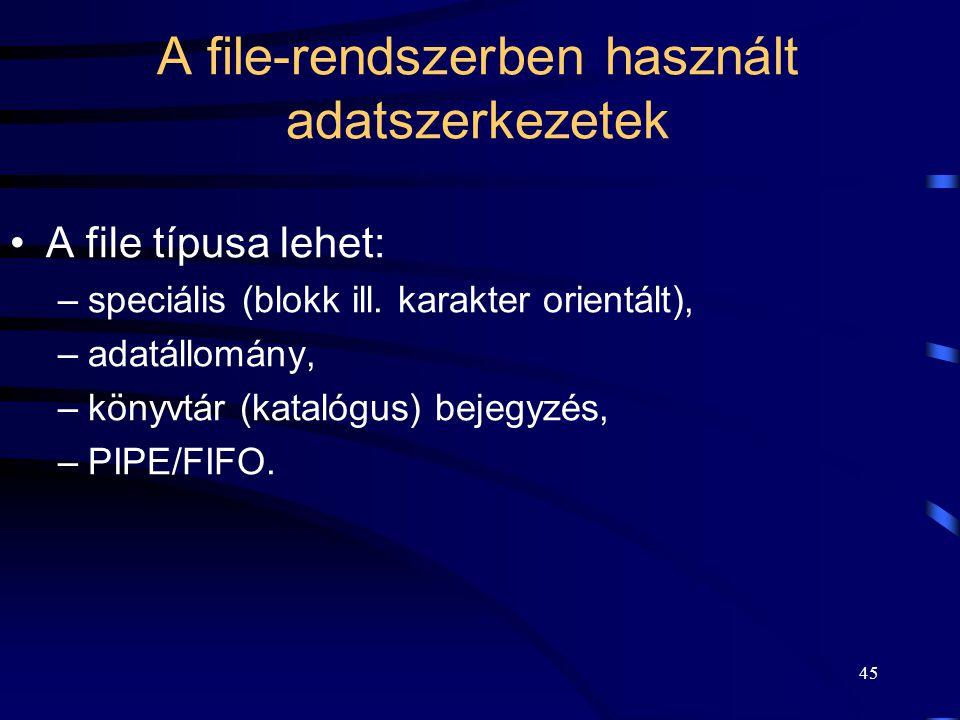 A file-rendszerben használt adatszerkezetek