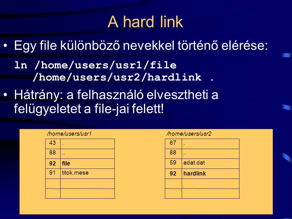 A hard link Egy file különböző nevekkel történő elérése: