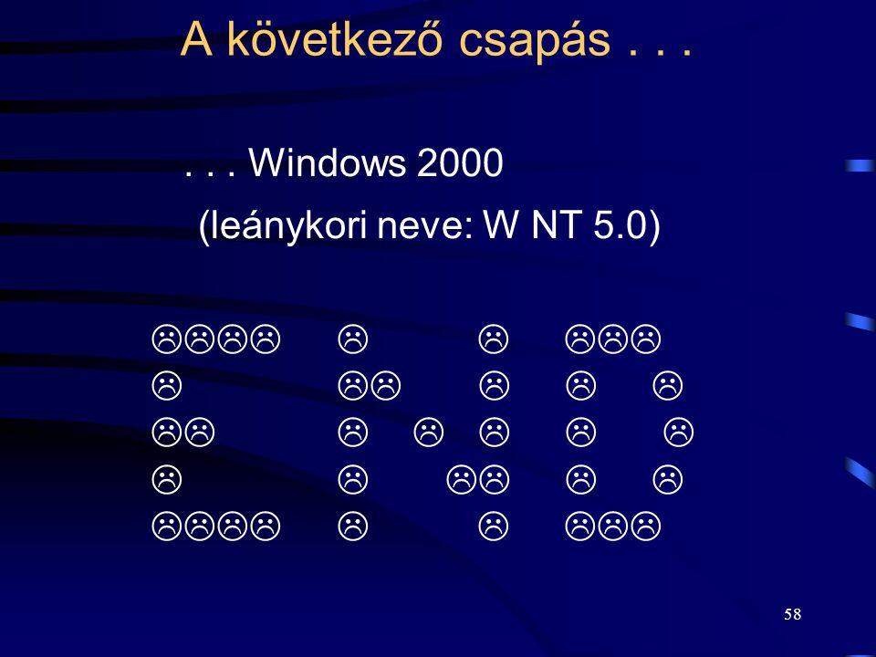 A következő csapás . . . . . . Windows 2000 (leánykori neve: W NT 5.0)