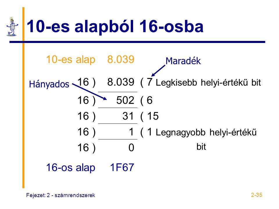 10-es alapból 16-osba 10-es alap 8.039 16 )
