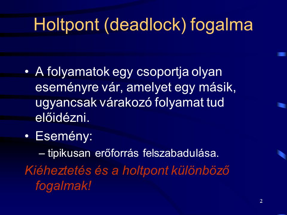 Holtpont (deadlock) fogalma