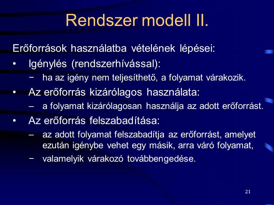 Rendszer modell II. Erőforrások használatba vételének lépései: