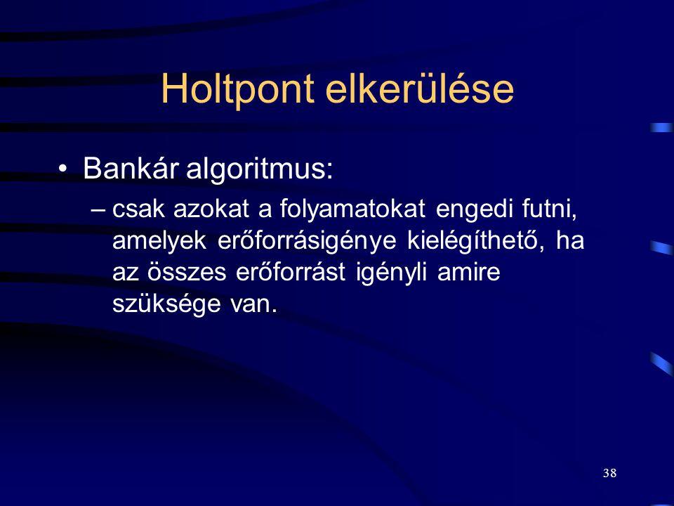 Holtpont elkerülése Bankár algoritmus: