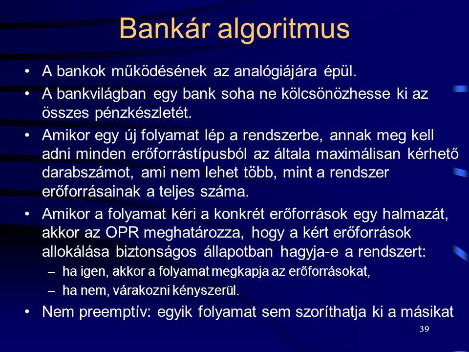 Bankár algoritmus A bankok működésének az analógiájára épül.