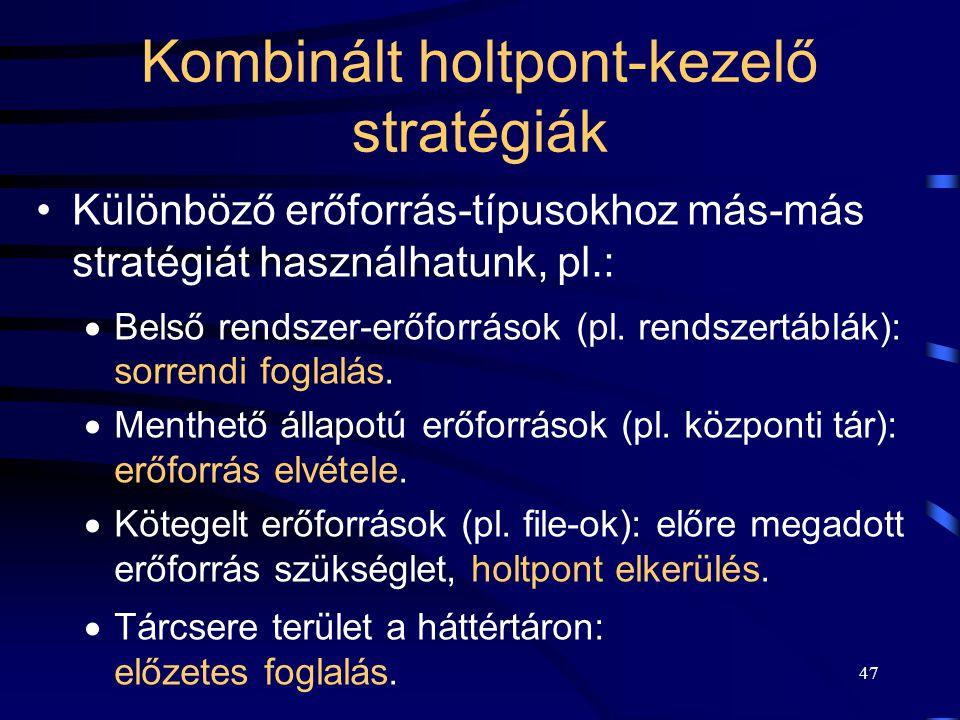 Kombinált holtpont-kezelő stratégiák