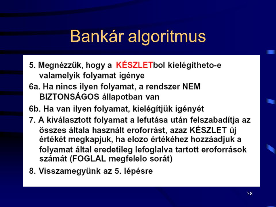 Bankár algoritmus