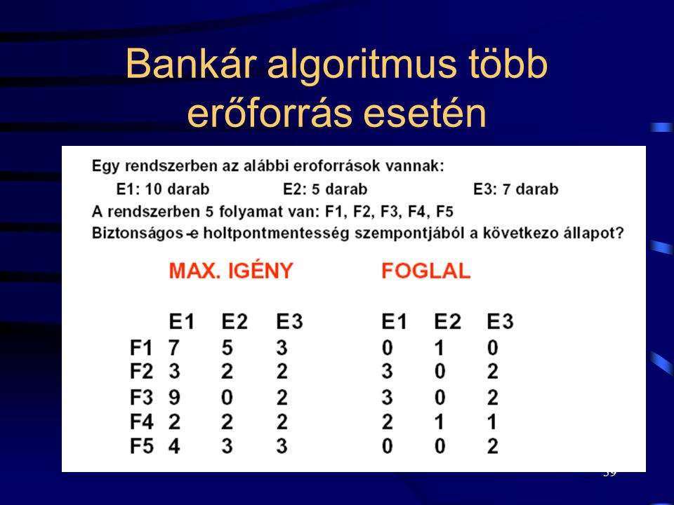Bankár algoritmus több erőforrás esetén