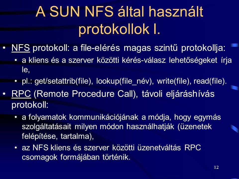 A SUN NFS által használt protokollok I.